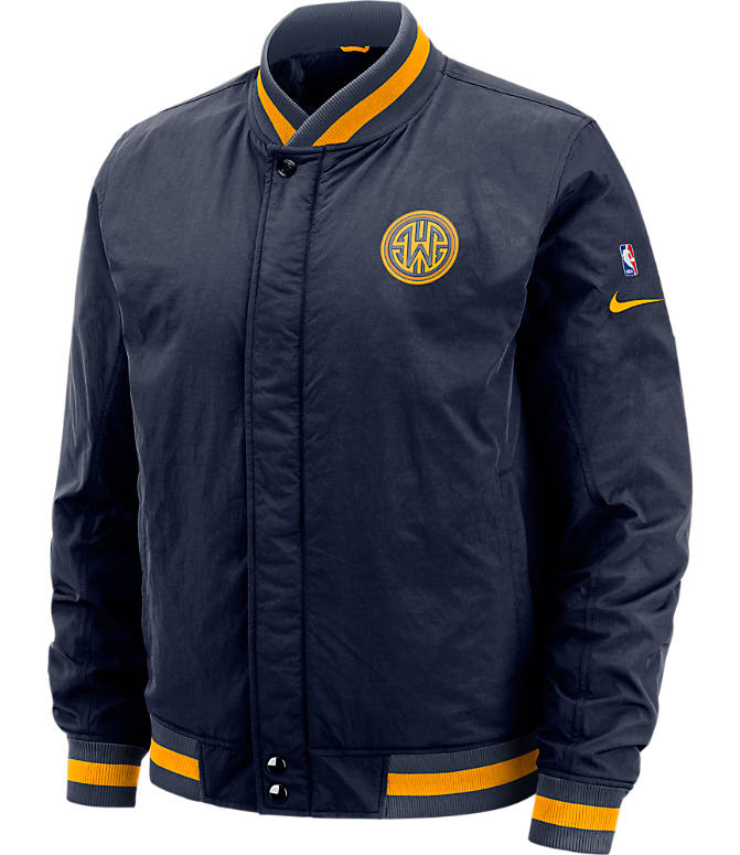 Front view of Men's Nike Golden State Warriors NBA Courtside Jacket in Blue