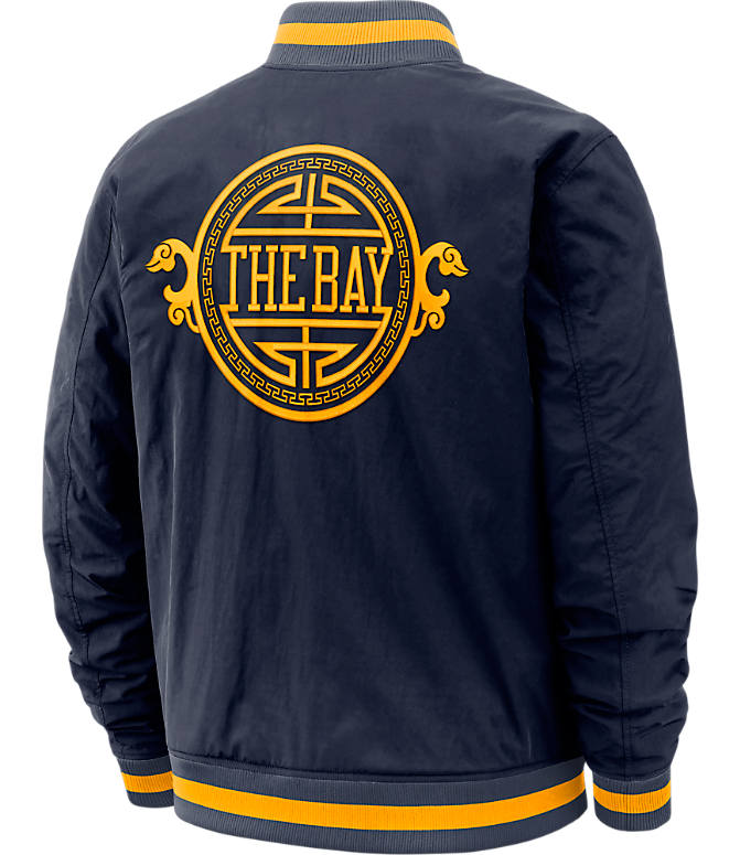 Back view of Men's Nike Golden State Warriors NBA Courtside Jacket in Blue