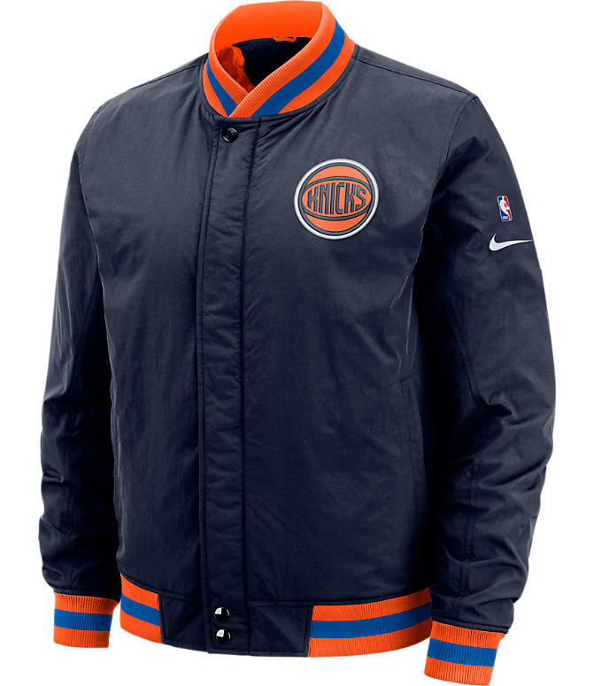 Front view of Men's Nike New York Knicks NBA Courtside Jacket in Colleg Navy