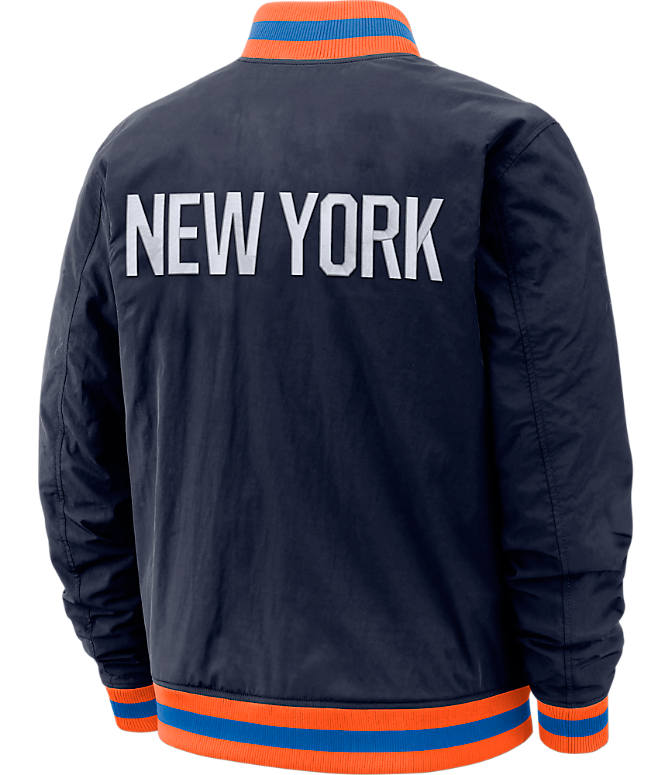 Back view of Men's Nike New York Knicks NBA Courtside Jacket in Colleg Navy