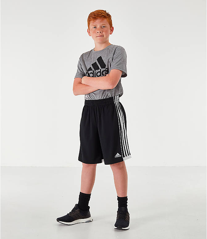 Front Three Quarter view of Boys' adidas Speed 18 Training Shorts in Black/White