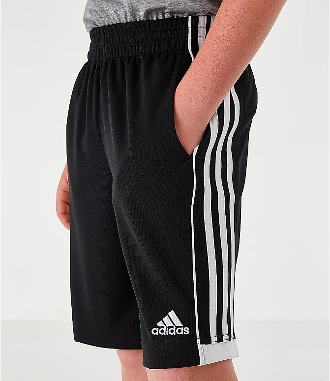 Back Right view of Boys' adidas Speed 18 Training Shorts in Black/White