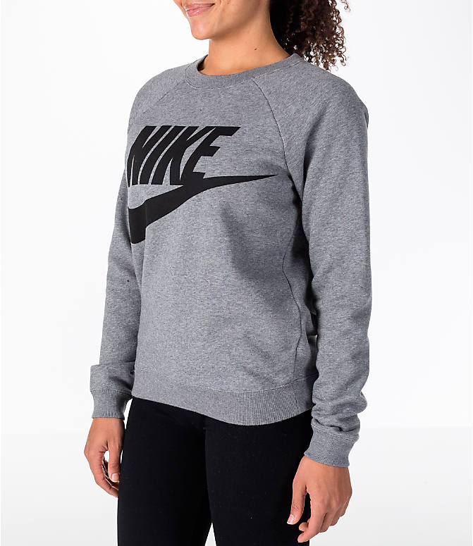 Front Three Quarter view of Women's Nike Sportswear Rally Crew Sweatshirt in Carbon Heather/Black