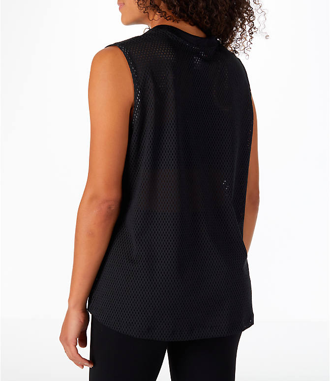 Back Left view of Women's Nike Sportswear Mesh Tank in Black/Light Bone