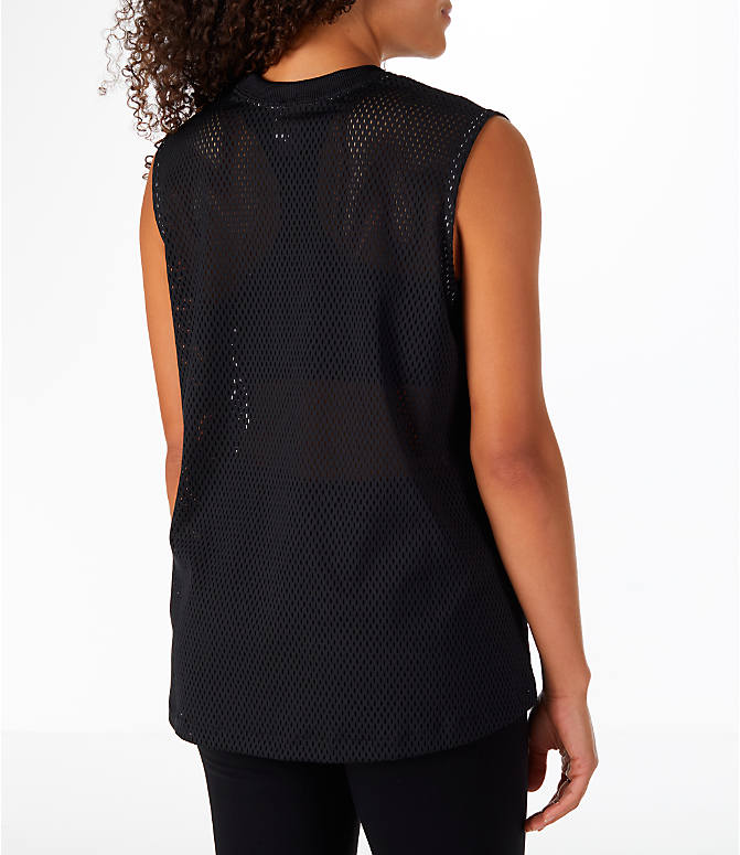 Back Right view of Women's Nike Sportswear Mesh Tank in Black/Light Bone