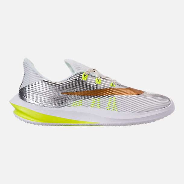 Right view of Kids' Grade School Nike Future Speed Running Shoes in White/Metallic Gold/Chrome/Volt