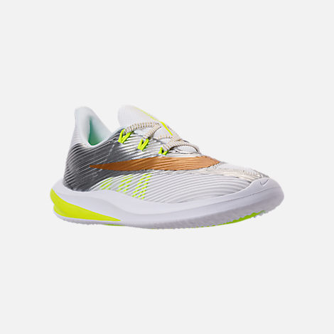 Three Quarter view of Kids' Grade School Nike Future Speed Running Shoes in White/Metallic Gold/Chrome/Volt