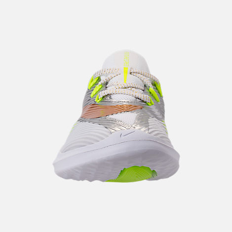 Front view of Kids' Grade School Nike Future Speed Running Shoes in White/Metallic Gold/Chrome/Volt