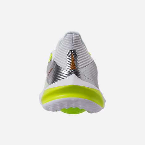 Back view of Kids' Grade School Nike Future Speed Running Shoes in White/Metallic Gold/Chrome/Volt
