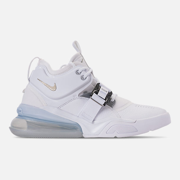 Right view of Men's Nike Air Force 270 Off-Court Shoes in White/Metallic Silver