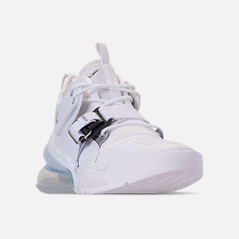 Three Quarter view of Men's Nike Air Force 270 Off-Court Shoes in White/Metallic Silver