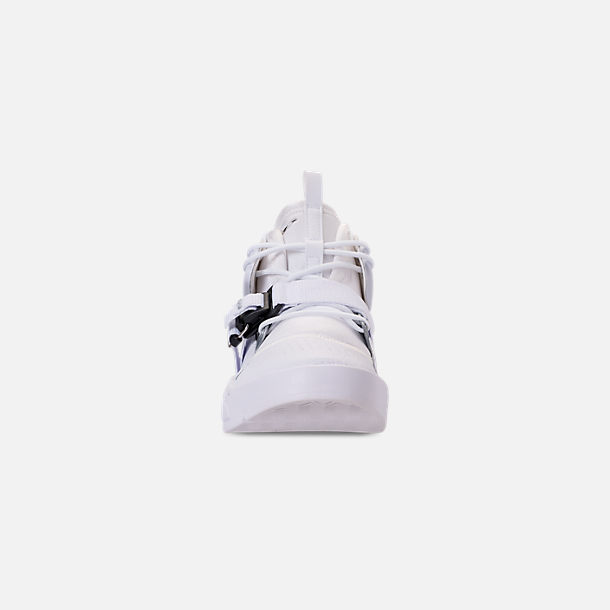 Front view of Men's Nike Air Force 270 Off-Court Shoes in White/Metallic Silver