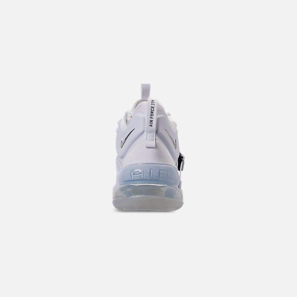 Back view of Men's Nike Air Force 270 Off-Court Shoes in White/Metallic Silver