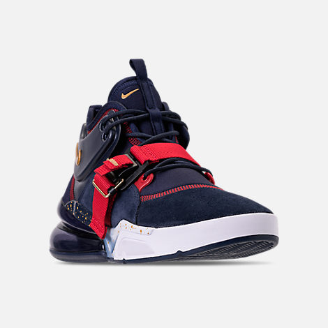 Three Quarter view of Men's Nike Air Force 270 Basketball Shoes in Obsidian/Metallic Gold/Gym Red/White