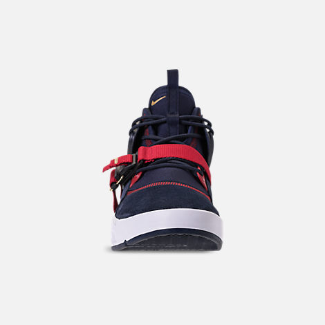 Front view of Men's Nike Air Force 270 Basketball Shoes in Obsidian/Metallic Gold/Gym Red/White