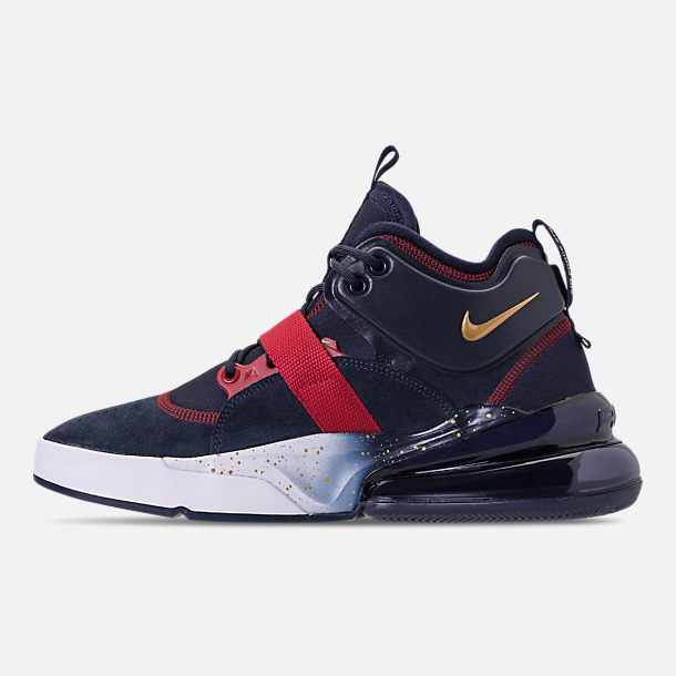 Left view of Men's Nike Air Force 270 Basketball Shoes in Obsidian/Metallic Gold/Gym Red/White