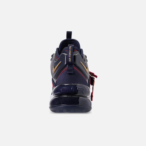Back view of Men's Nike Air Force 270 Basketball Shoes in Obsidian/Metallic Gold/Gym Red/White