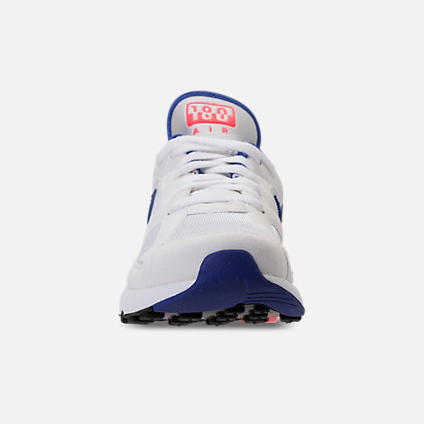 Front view of Women's Nike Air Max 180 Casual Shoes in White/Solar Red/Black/Racer Blue