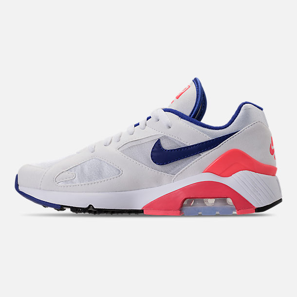 Left view of Women's Nike Air Max 180 Casual Shoes in White/Solar Red/Black/Racer Blue