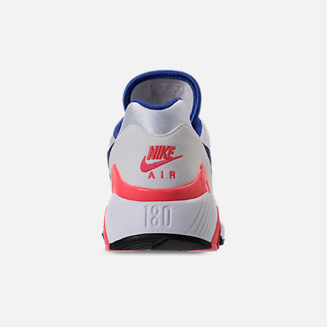 Back view of Women's Nike Air Max 180 Casual Shoes in White/Solar Red/Black/Racer Blue