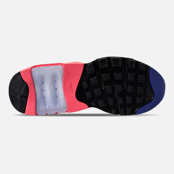 Bottom view of Women's Nike Air Max 180 Casual Shoes in White/Solar Red/Black/Racer Blue