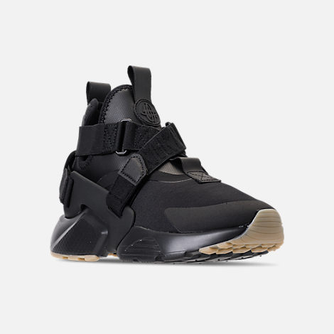 Three Quarter view of Nike Air Huarache City Casual Shoes (Check Description for Sizing Information) in Black/Dark Grey/Gum Light Brown