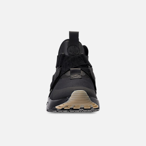 Front view of Nike Air Huarache City Casual Shoes (Check Description for Sizing Information) in Black/Dark Grey/Gum Light Brown