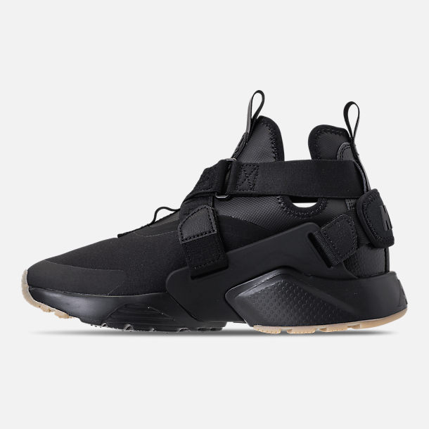 Left view of Nike Air Huarache City Casual Shoes (Check Description for Sizing Information) in Black/Dark Grey/Gum Light Brown