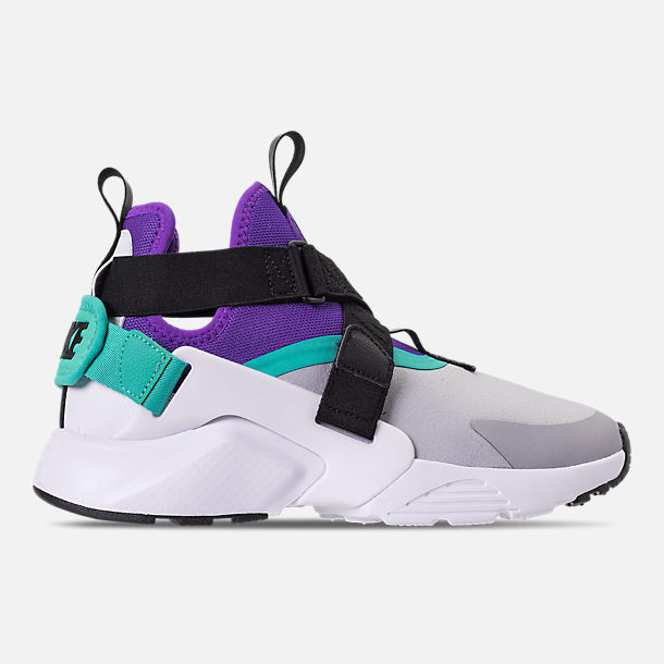 newest dea33 cae53 sweden right view of womens nike air huarache city casual shoes in wolf grey  fierce purple