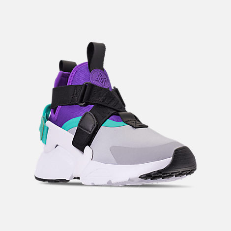 Three Quarter view of Women's Nike Air Huarache City Casual Shoes in Wolf Grey/Fierce Purple/Hyper Jade