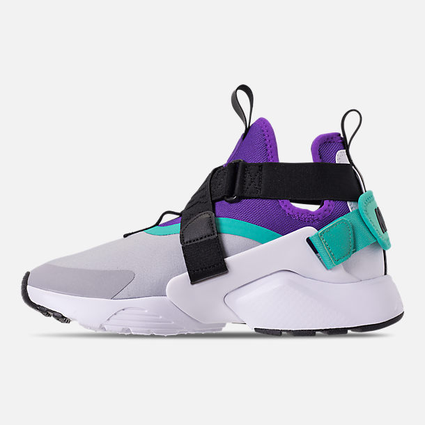 Left view of Women's Nike Air Huarache City Casual Shoes in Wolf Grey/Fierce Purple/Hyper Jade