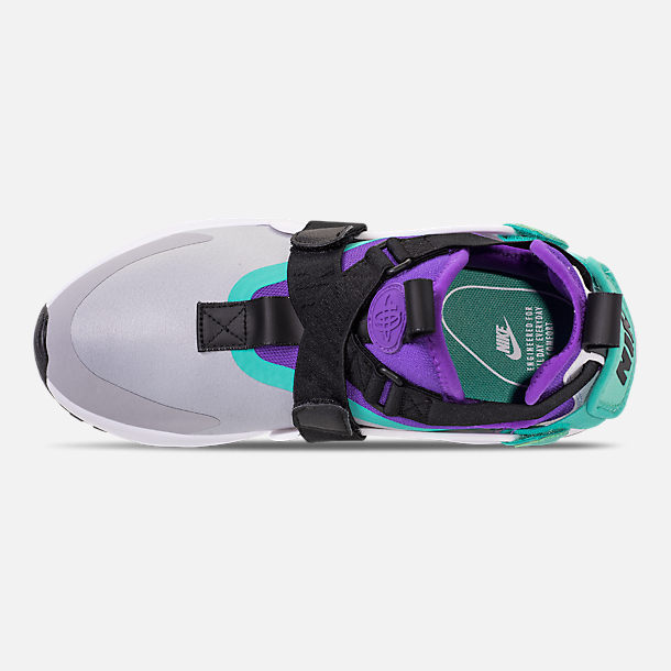 Top view of Women's Nike Air Huarache City Casual Shoes in Wolf Grey/Fierce Purple/Hyper Jade