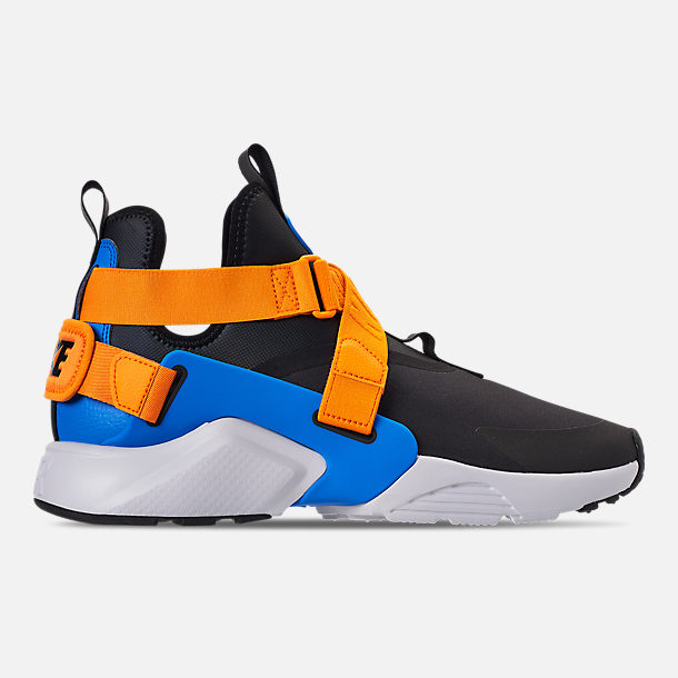 Right view of Women's Nike Air Huarache City Casual Shoes in Black/Photo Blue/Orange Peel