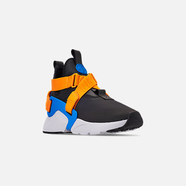 Three Quarter view of Women's Nike Air Huarache City Casual Shoes in Black/Photo Blue/Orange Peel
