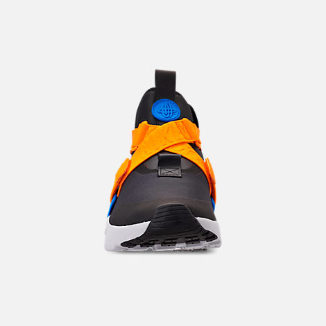 Front view of Women's Nike Air Huarache City Casual Shoes in Black/Photo Blue/Orange Peel