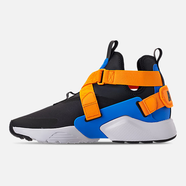Left view of Women's Nike Air Huarache City Casual Shoes in Black/Photo Blue/Orange Peel