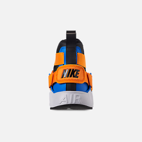 Back view of Women's Nike Air Huarache City Casual Shoes in Black/Photo Blue/Orange Peel