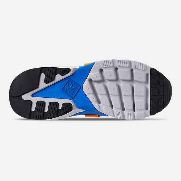 Bottom view of Women's Nike Air Huarache City Casual Shoes in Black/Photo Blue/Orange Peel