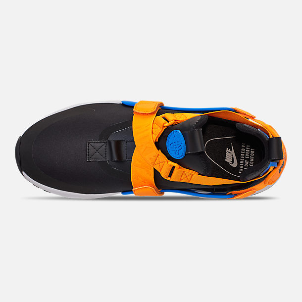 Top view of Women's Nike Air Huarache City Casual Shoes in Black/Photo Blue/Orange Peel