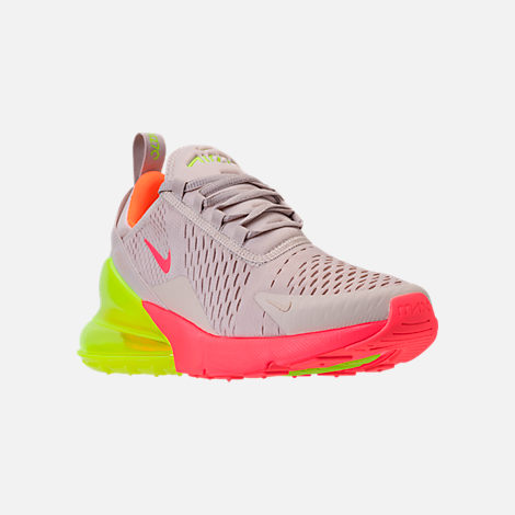 Three Quarter view of Women's Nike Air Max 270 Casual Shoes in Desert Sand/Hot Punch/Volight