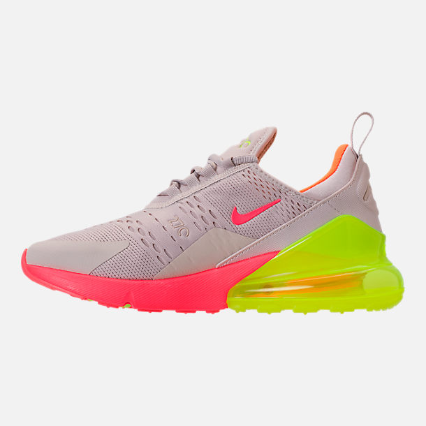 reputable site ff403 6e6b9 Left view of Women s Nike Air Max 270 Casual Shoes in Desert Sand Hot Punch