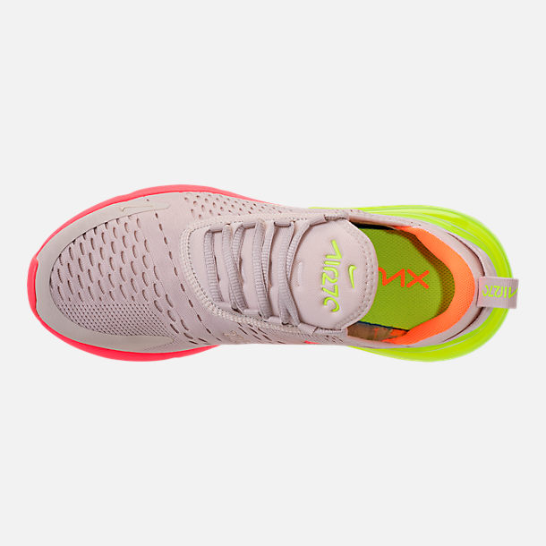 Top view of Women's Nike Air Max 270 Casual Shoes in Desert Sand/Hot Punch/Volight