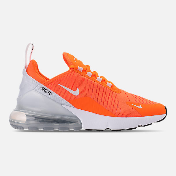 Right view of Women's Nike Air Max 270 Casual Shoes in Total Orange/White/Black