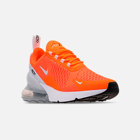 Three Quarter view of Women's Nike Air Max 270 Casual Shoes in Total Orange/White/Black