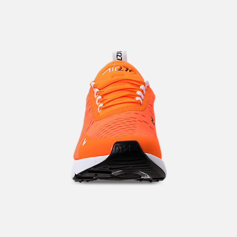 Front view of Women's Nike Air Max 270 Casual Shoes in Total Orange/White/Black