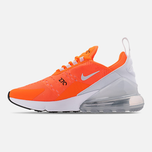 Left view of Women's Nike Air Max 270 Casual Shoes in Total Orange/White/Black