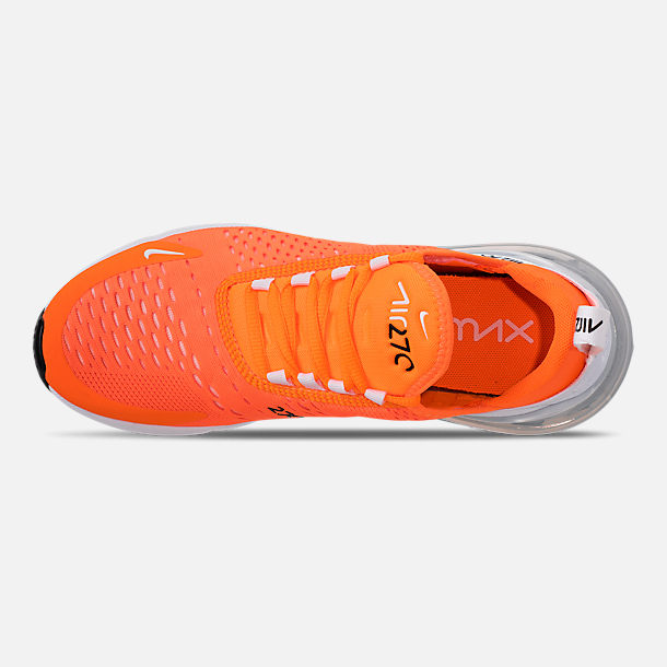 Top view of Women's Nike Air Max 270 Casual Shoes in Total Orange/White/Black