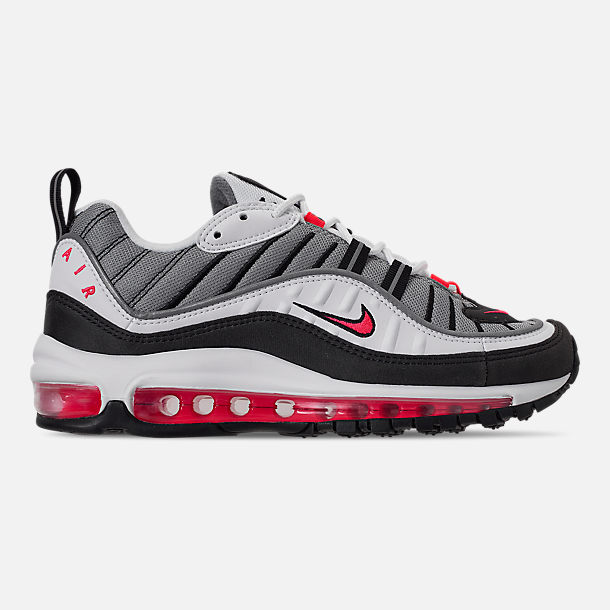Right view of Women's Nike Air Max 98 Casual Shoes in White/Solar Red/Dust Reflect Silver