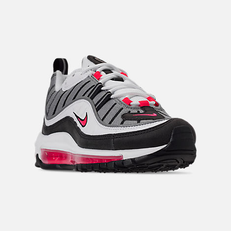 Three Quarter view of Women's Nike Air Max 98 Casual Shoes in White/Solar Red/Dust Reflect Silver