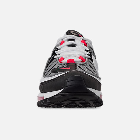 Front view of Women's Nike Air Max 98 Casual Shoes in White/Solar Red/Dust Reflect Silver